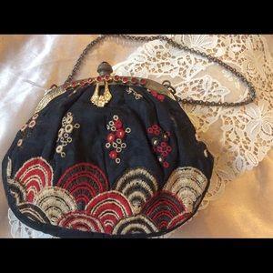 Vintage Graceline Evening Makeup Bag Asian Garnet